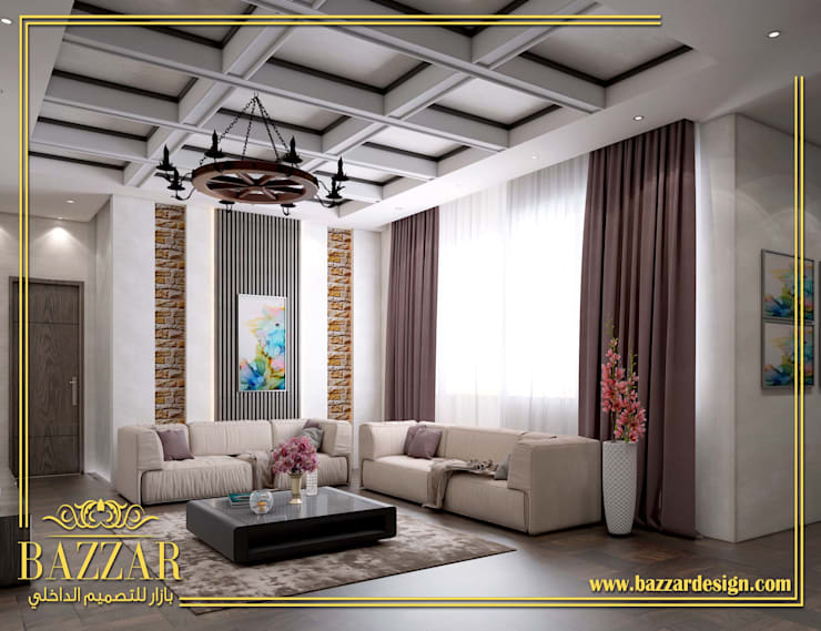 غرف معيشة:  Living room تنفيذ Bazzar Design