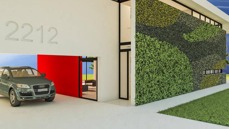Acceso + Muro verde: Casas unifamiliares de estilo  por DUSINSKY S.A.,Moderno