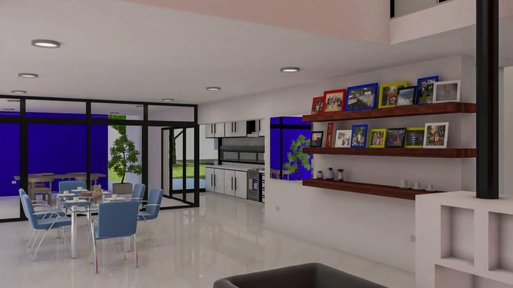 De estar a cocina: Livings de estilo  por DUSINSKY S.A.,Moderno
