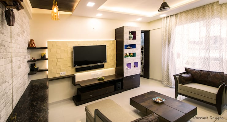 Salas / recibidores de estilo  por Navmiti Designs, Moderno Tablero DM