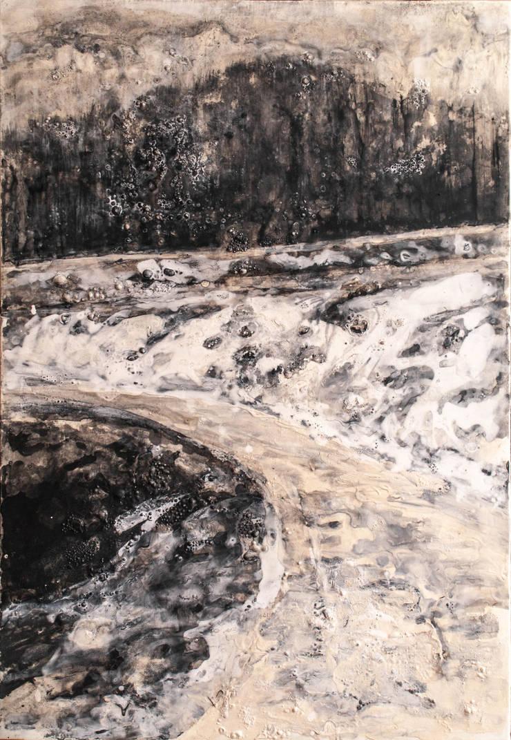 paisajes negros IV:  de estilo  de bealux, Moderno Algodón Rojo
