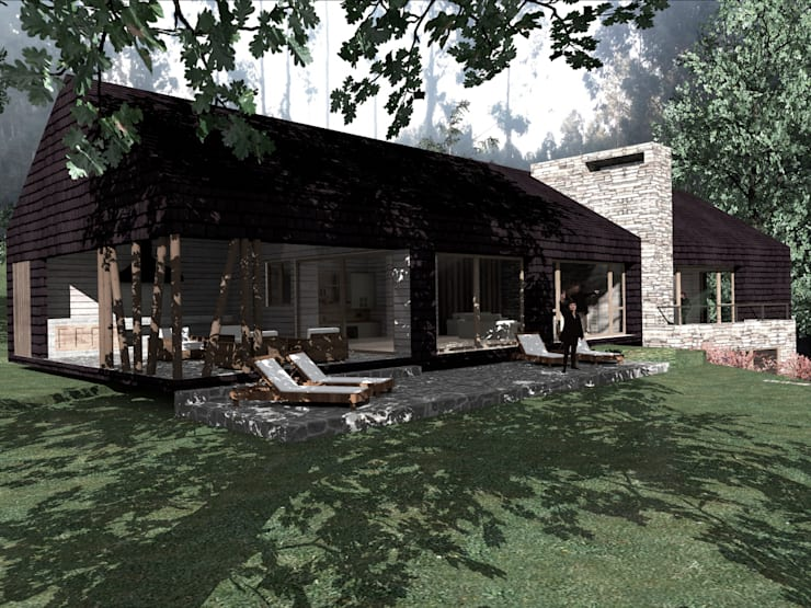 SECTOR TERRAZA/QUINCHO: Casas de estilo  por KOMMER ARQUITECTOS