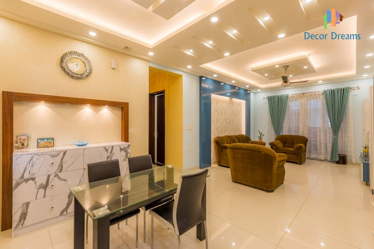Vaishnavi Terraces, 3 BHK - Ms. Supriya:  Living room by DECOR DREAMS
