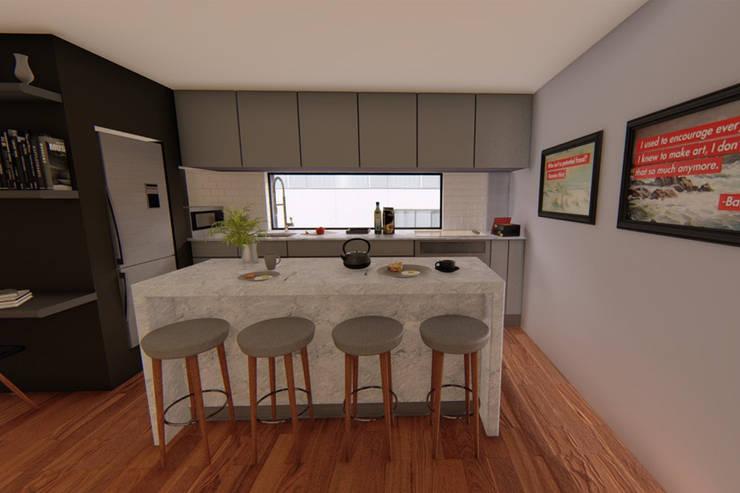 Vista cocina: Oficinas y tiendas de estilo  por eleganty