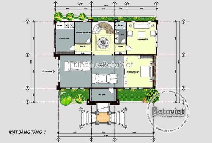 Mặt bằng tầng 1 thiết kế lâu đài dinh thự 3 tầng Tân cổ điển (CĐT: Ông Tiến - Thái Nguyên) Kt18064:   by Công Ty CP Kiến Trúc và Xây Dựng Betaviet