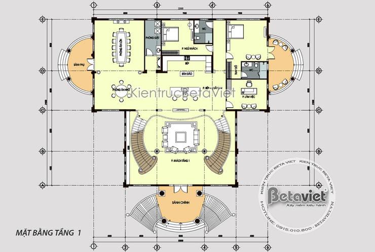 Mặt bằng tầng 1 lâu đài dinh thự Tân cổ điển đẹp (CĐT: Ông Khánh - Bắc Giang) KT18068B:   by Công Ty CP Kiến Trúc và Xây Dựng Betaviet