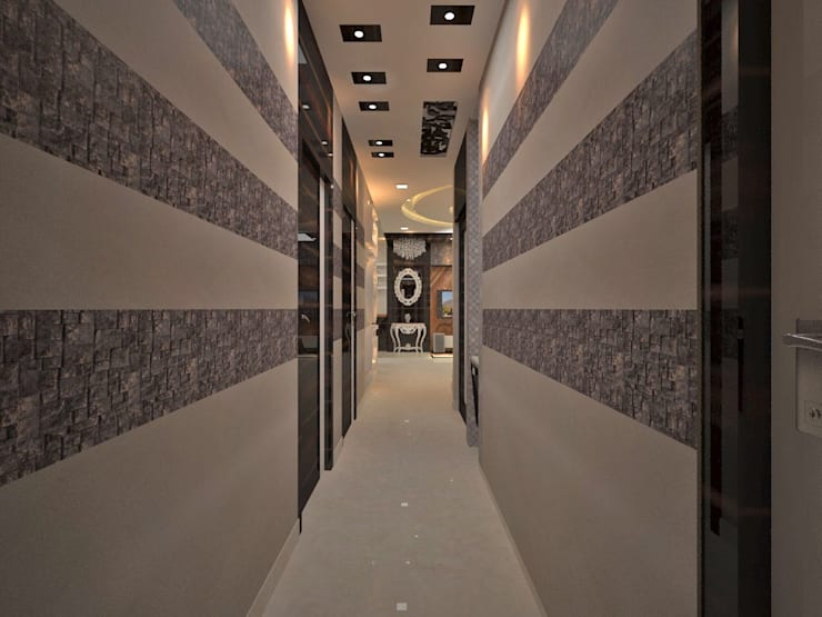 Contemporary interior project in kolkata:  Corridor & hallway by Estate Lookup Interiors