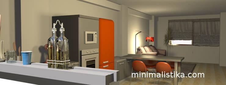 Loft Familiar: Cocinas equipadas de estilo  por Minimalistika.com