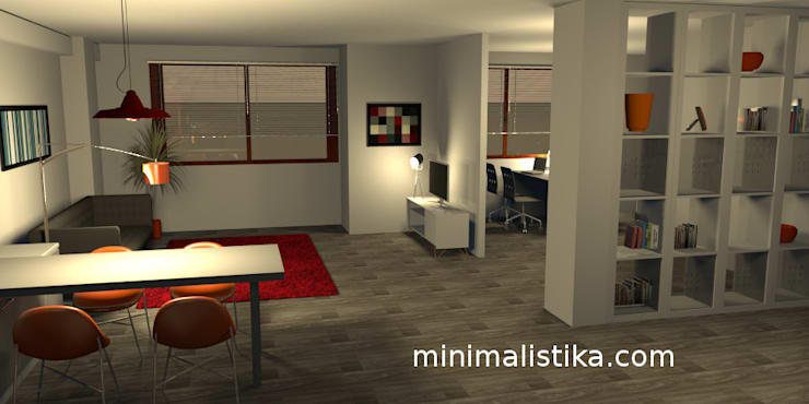 Loft Familiar: Salas / recibidores de estilo  por Minimalistika.com