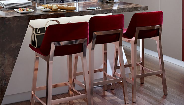 Burgundy Bar Stools:  Kitchen by Linken Designs