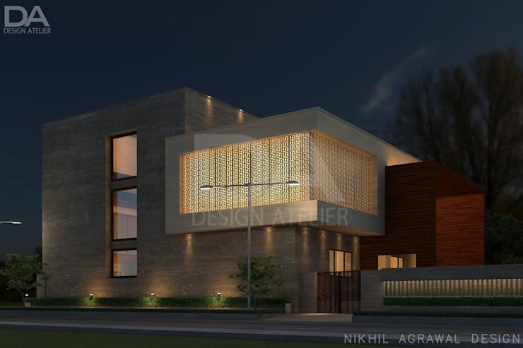 Bungalow in Beawar(Rajasthan,IN)- Exterior house elevation and Facades:  Houses by Design Atelier