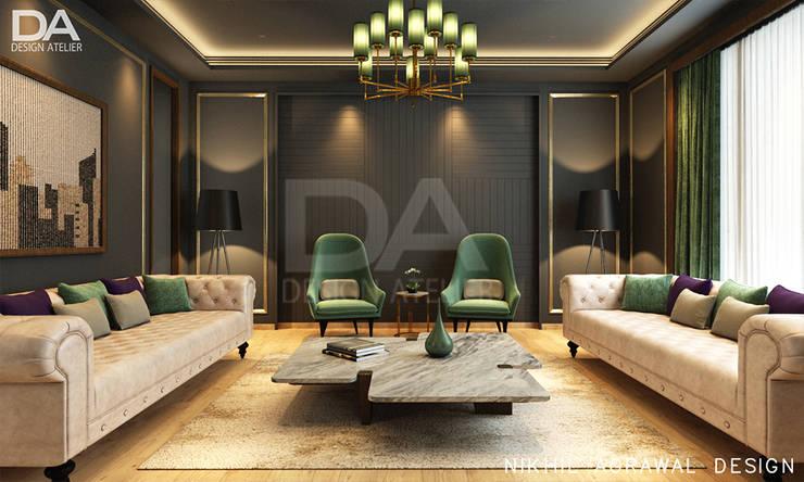 Bungalow in Beawar(Rajasthan,IN)- Living Room:  Living room by Design Atelier