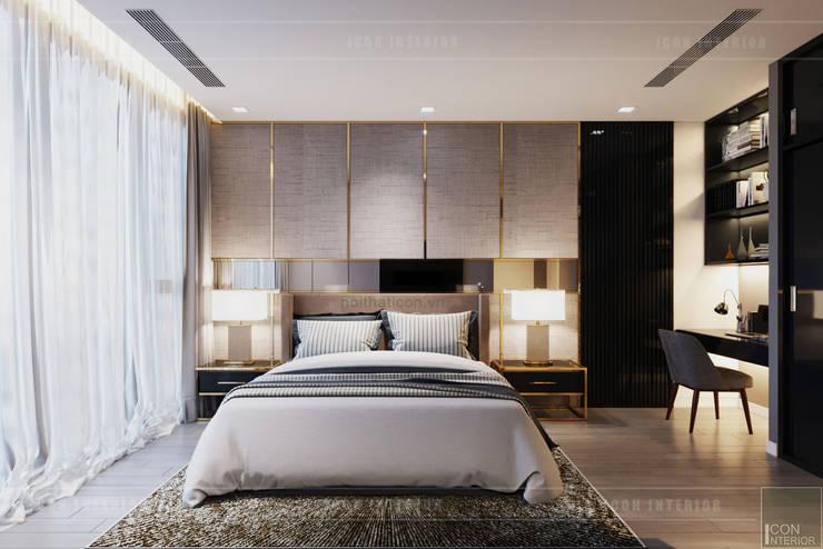 Sang trọng đẳng cấp với nội thất mạ Titan trong căn hộ Vinhomes Golden River:  Phòng ngủ by ICON INTERIOR