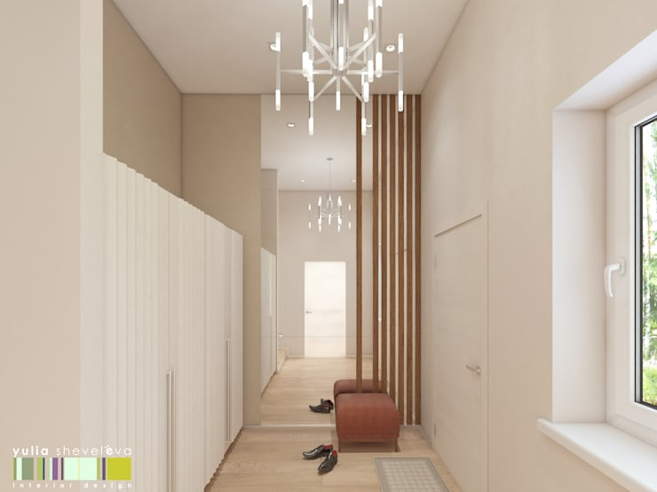 Minimalist corridor, hallway & stairs by Мастерская интерьера Юлии Шевелевой Minimalist
