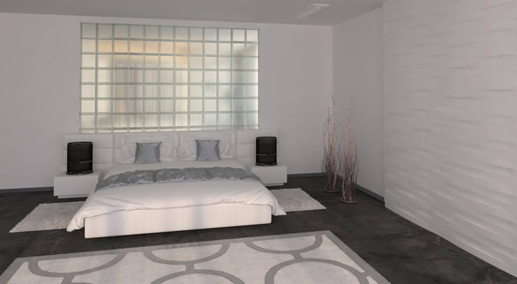 Большая спальня в стиле минимализм: Спальни в . Автор – студия Design3F, Минимализм