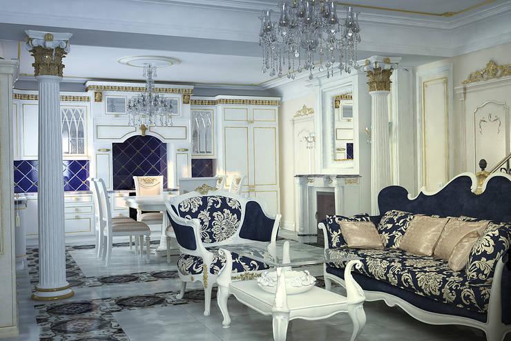 Гостиная и кухня в стиле барокко: Кухни в . Автор – студия Design3F