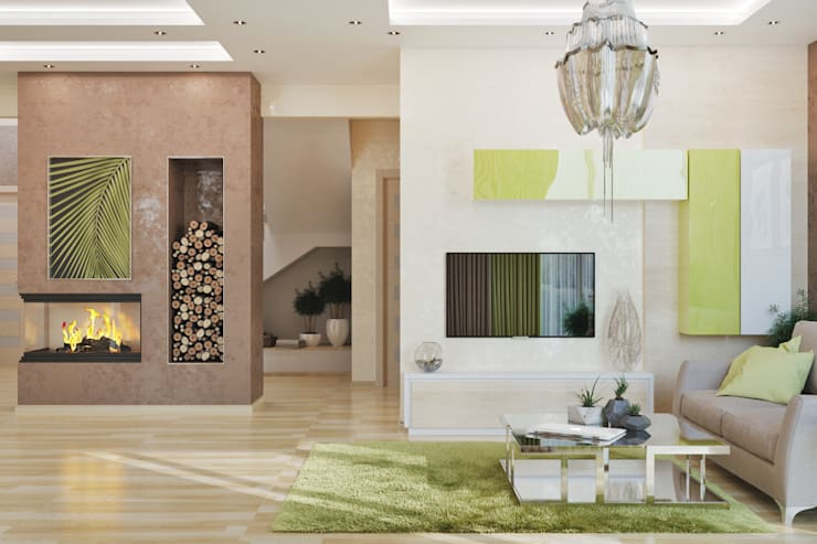 Интерьер гостиной в современной стилистике: Гостиная в . Автор – студия Design3F, Минимализм