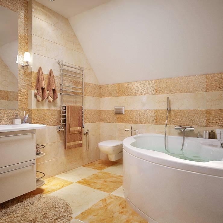 Ванная комната в бежевых тонах: Ванные комнаты в . Автор – студия Design3F, Эклектичный