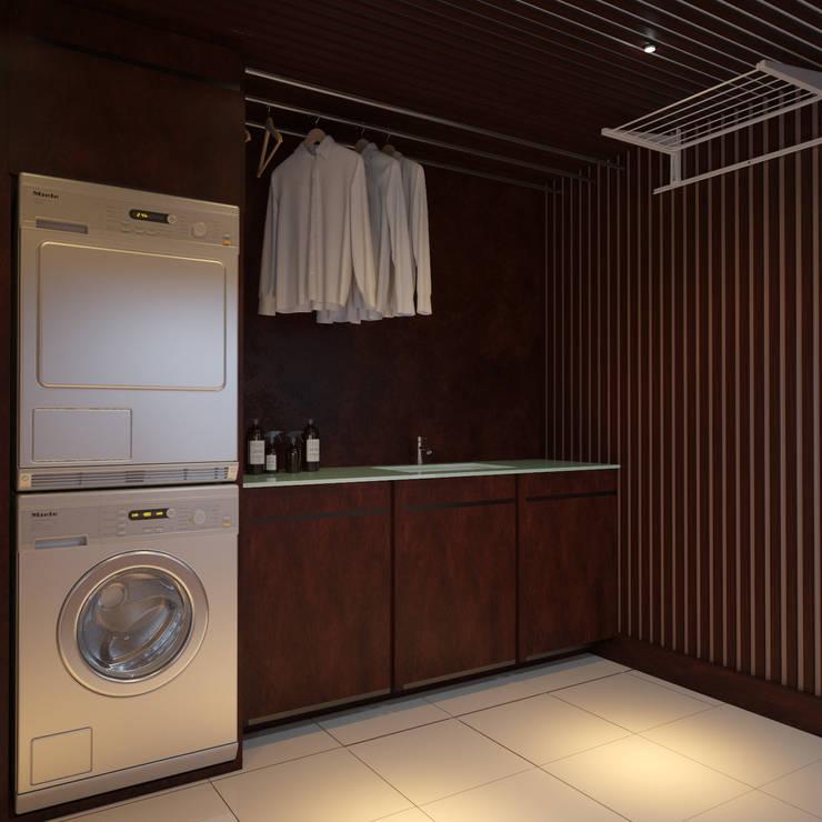 Постирочная комната в доме: Ванные комнаты в . Автор – студия Design3F, Эклектичный