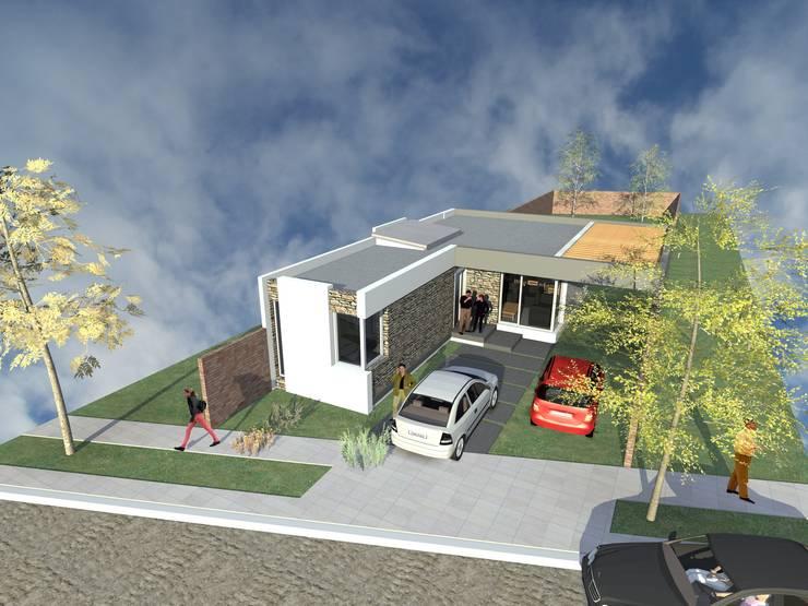 Primer etapa - Vista aerea: Casas unifamiliares de estilo  por Arquitecto Pablo Briguglio