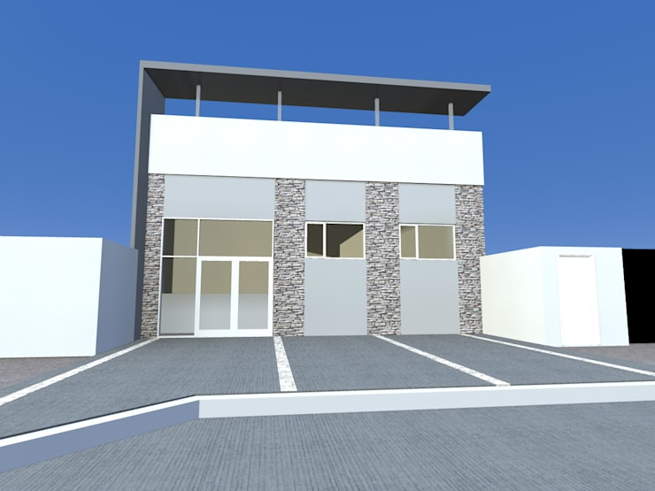 Fachada frente - pruebas: Estancias de estilo  por Arquitecto Pablo Briguglio,Moderno