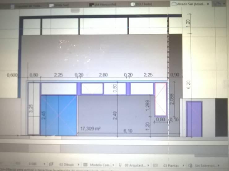 Primer propuesta de fachada: Salas de eventos de estilo  por Arquitecto Pablo Briguglio,Moderno Aglomerado