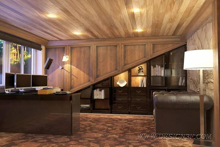 Кабинет из натурального массива дерева: Рабочие кабинеты в . Автор – студия Design3F