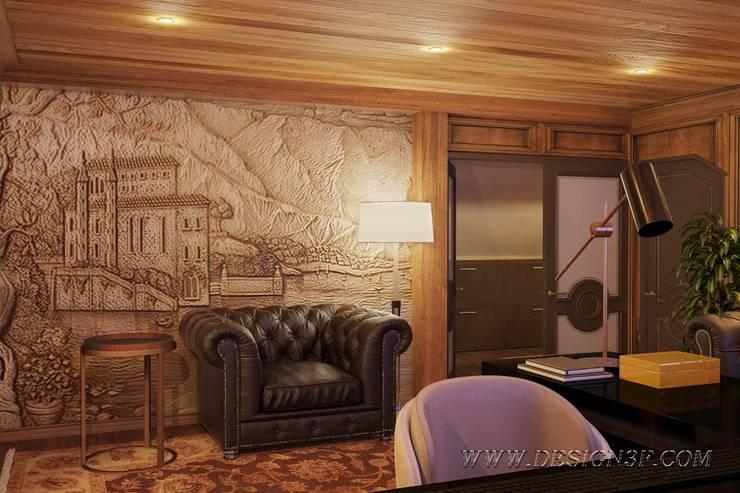 Кабинет из натурального массива дерева: Рабочие кабинеты в . Автор – студия Design3F, Классический