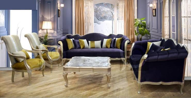 طقم سندى غرفة معيشة - غرفة جلوس:  غرفة المعيشة تنفيذ أثاث لومباردى