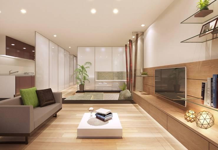 Living room by 中浦建築事務所