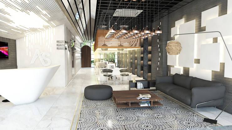 ANHSAO Showroom lighting:  Windows & doors  by MEG Design Studio
