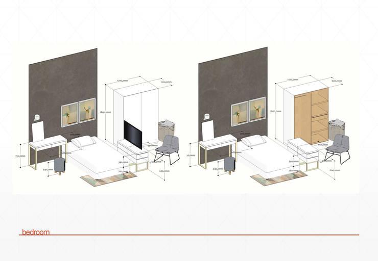 layout bedroom:  Bedroom by jaas.design