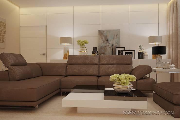 Интерьер гостиной с большим угловым диваном: Гостиная в . Автор – студия Design3F, Модерн