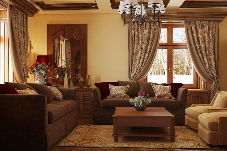 Интерьер гостиной в английском стиле: Гостиная в . Автор – студия Design3F, Классический
