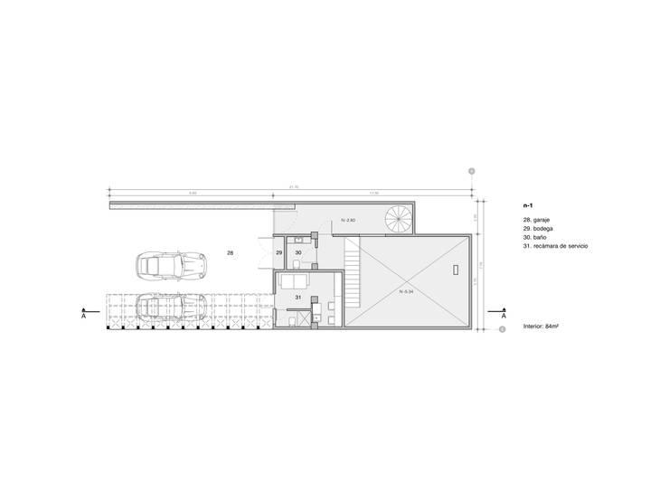 Plano 1:  de estilo  por Paola Calzada Arquitectos