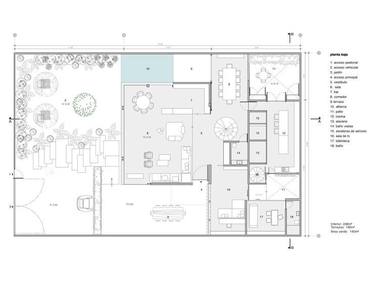 Planos de planta baja:  de estilo  por Paola Calzada Arquitectos