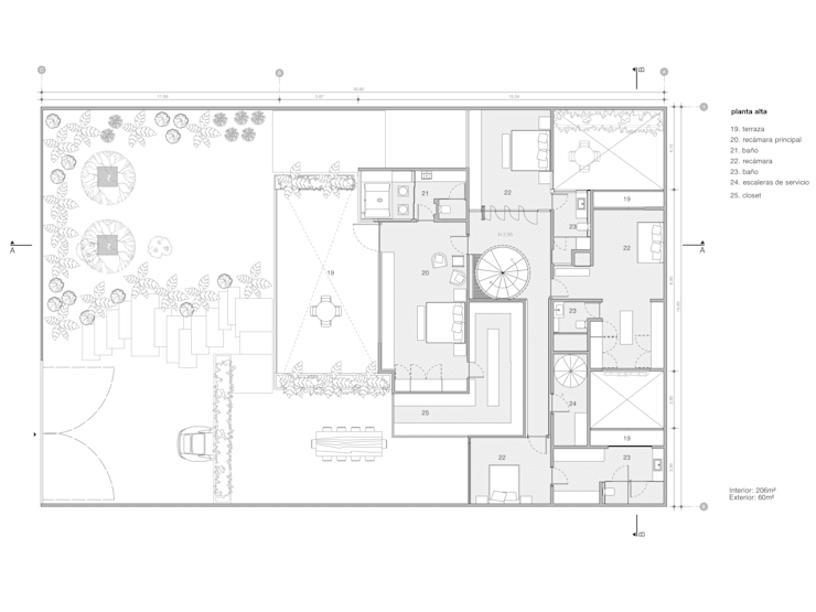 Planos de planta alta:  de estilo  por Paola Calzada Arquitectos