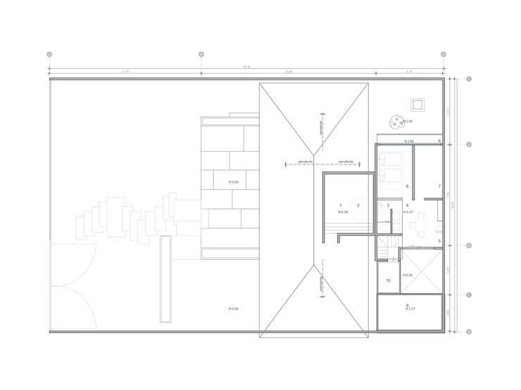 Planos de azotea:  de estilo  por Paola Calzada Arquitectos