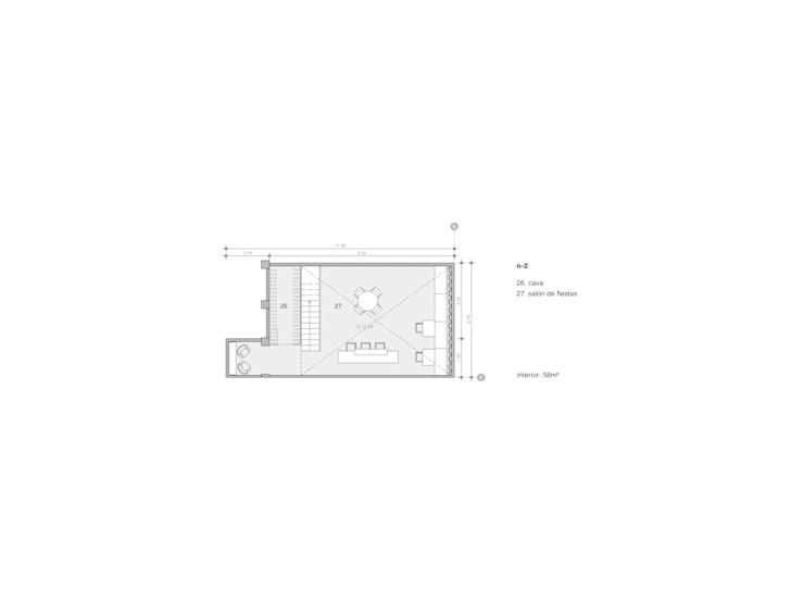 Plano de cava y sala de eventos:  de estilo  por Paola Calzada Arquitectos