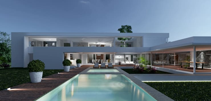 Casa C+S: Piletas de estilo  por D'ODORICO OFICINA DE ARQUITECTURA