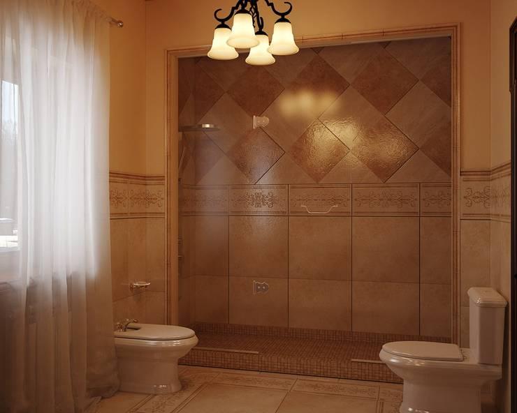Интерьер ванной в темном цвете: Ванные комнаты в . Автор – студия Design3F, Классический