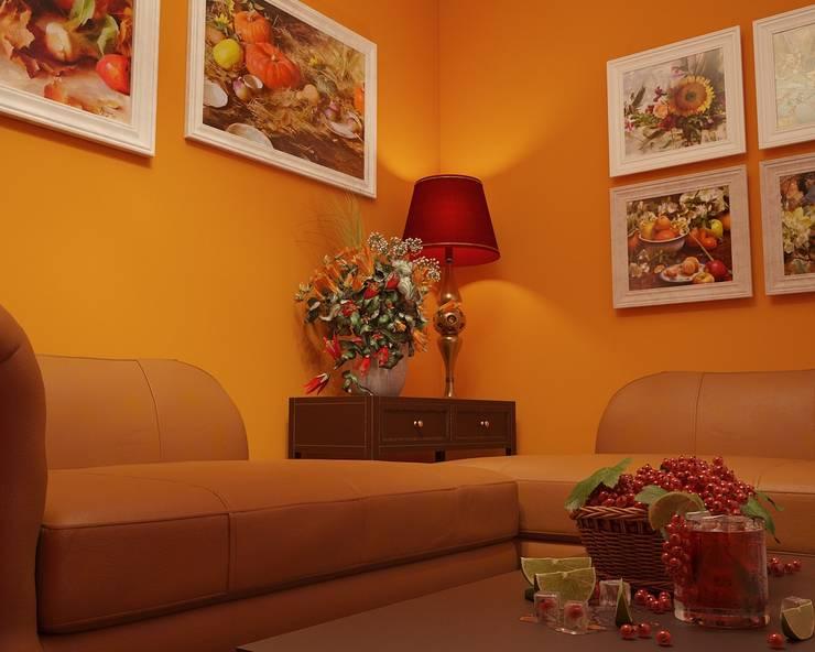 Комната оранжевого цвета: Гостиная в . Автор – студия Design3F, Классический
