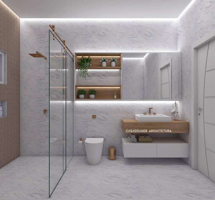 Banheiro Social - clássico: Banheiros  por CASAGRANDE ARQUITETURA