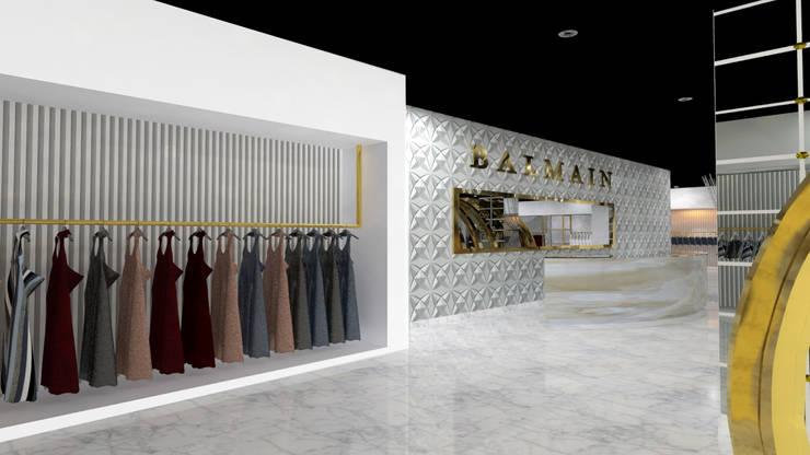 VISTA 1: Pasillos y vestíbulos de estilo  por Karla Alvarez - Arquitectura de Interiores