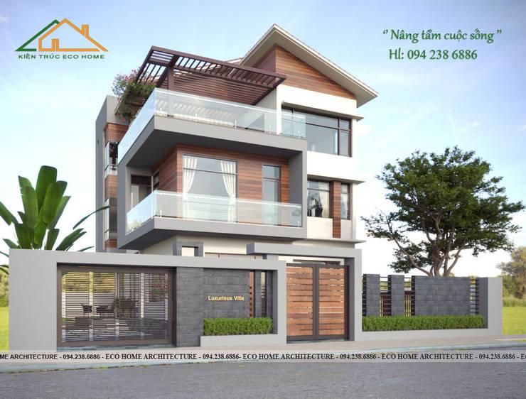 Thiết kế biệt thự mái chéo 3 tầng:   by Công ty CP kiến trúc và xây dựng Eco Home