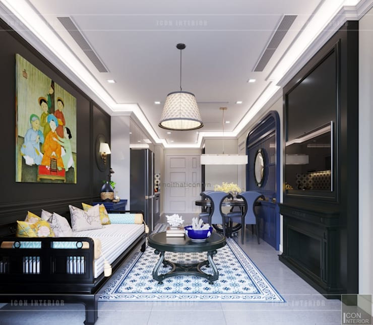 THIẾT KẾ INDOCHINE TRONG CĂN HỘ VINHOMES GOLDEN RIVER:  Phòng khách by ICON INTERIOR