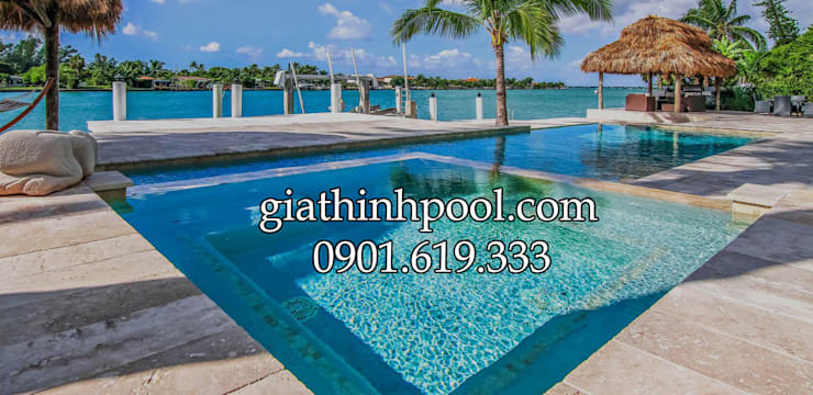 Tư vấn thiết kế xây dựng hồ bơi gia đình: GIATHINHPOOL - THIETKETHICONGHOBOI의 현대 ,모던