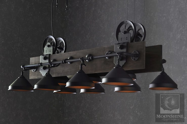 The Yorba Linda - Unique Industrial Pool Table Light: industrial Living room by Moonshine Lamp Co.