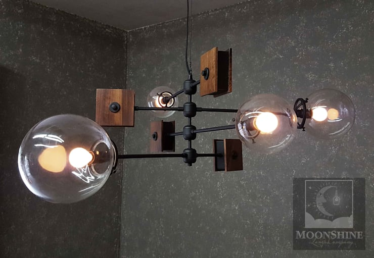 The Continental – Mid-Century Modern Classic Chandelier:  Living room by Moonshine Lamp Co.