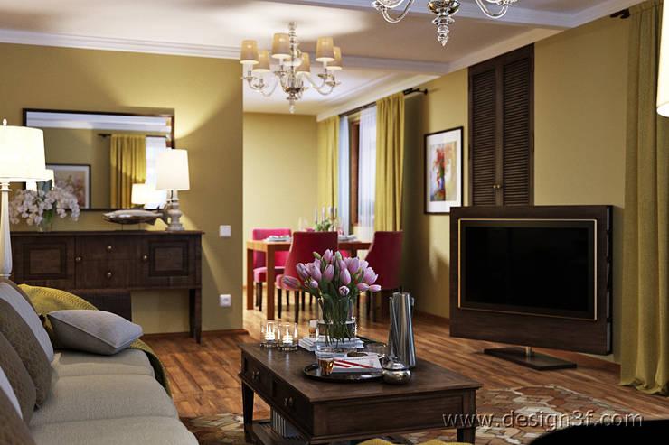 Интерьер гостиной в оливковых тонах: Гостиная в . Автор – студия Design3F, Классический